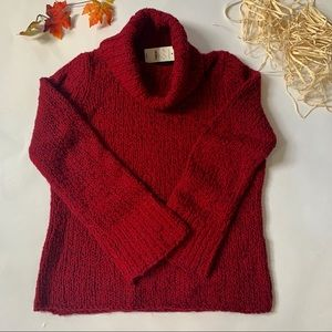 NWT Express Maroon Cowl Neck Chunky Knit Sweater